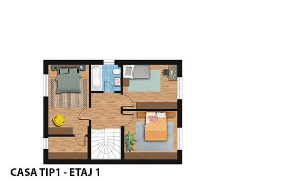 Ansamblul Green Garden Bucuresti - casa TIP1 - plan etaj