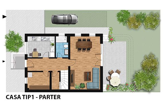 Ansamblul Green Garden Bucuresti - casa TIP1 - plan parter